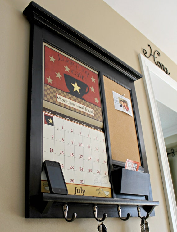 Wall calendar front loading home decor framed by rozemake for Wall mail organizer with cork board