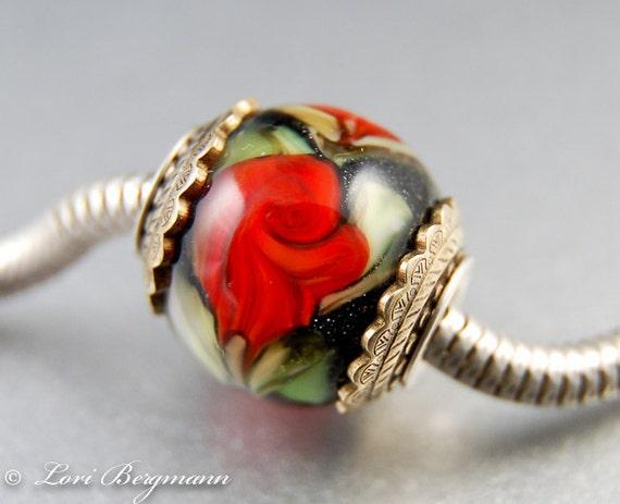 Red Rose Large Hole Bead, Handmade Lampwork Flower, Universal Charm, SRA