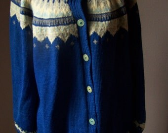 Hand knit Sweater NONIA from New Foundland Cardigan Wool size Medium to Large VINTAGE by Plantdreaming