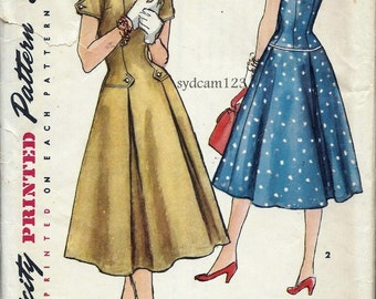 Vintage 1956  Dropwaist Single Back Button Dress Pattern Low V Back Button Tab Sleeves 1950s Simplicity 1529 Bust 34 UNCUT