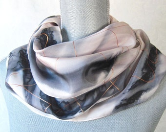 Silk Scarf Handpainted in Black and Beige with Gold