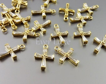 2 Cubic zirconia gold cross charms for bracelets, necklaces, earrings, anklets, jewelry making supplies 1886G-CL (bright gold, 2 pieces)