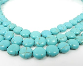 Turquoise Beads, Robins Egg Blue, Puffed Coin Beads, 43pcs, Round 10mm Beads, Full Strand Flat Turquoise