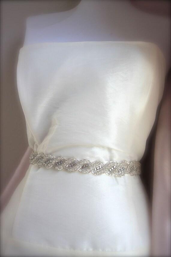 Crystal Beaded Bridal Sash, Rhinestone Wedding Belt Love Knot Twist, Satin, Belt, white, ivory, black other colors