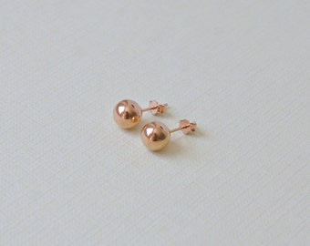 Rose gold ball earrings - pink gold designer style 8mm ball stud earrings - everyday earrings - women gift simple classic jewelry - Caroline