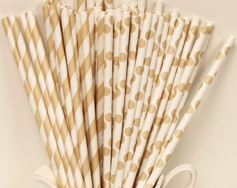 Paper Straws, 30 Ivory Cream Assorted Stripes and Dots Paper Straws, Vintage Wedding, Dinner Parties, Elegant, Shabby Chic, Party Drinks