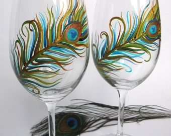 Hand painted Wedding Toasting Wine Glasses Set of 2 Personalized Peacock Feather