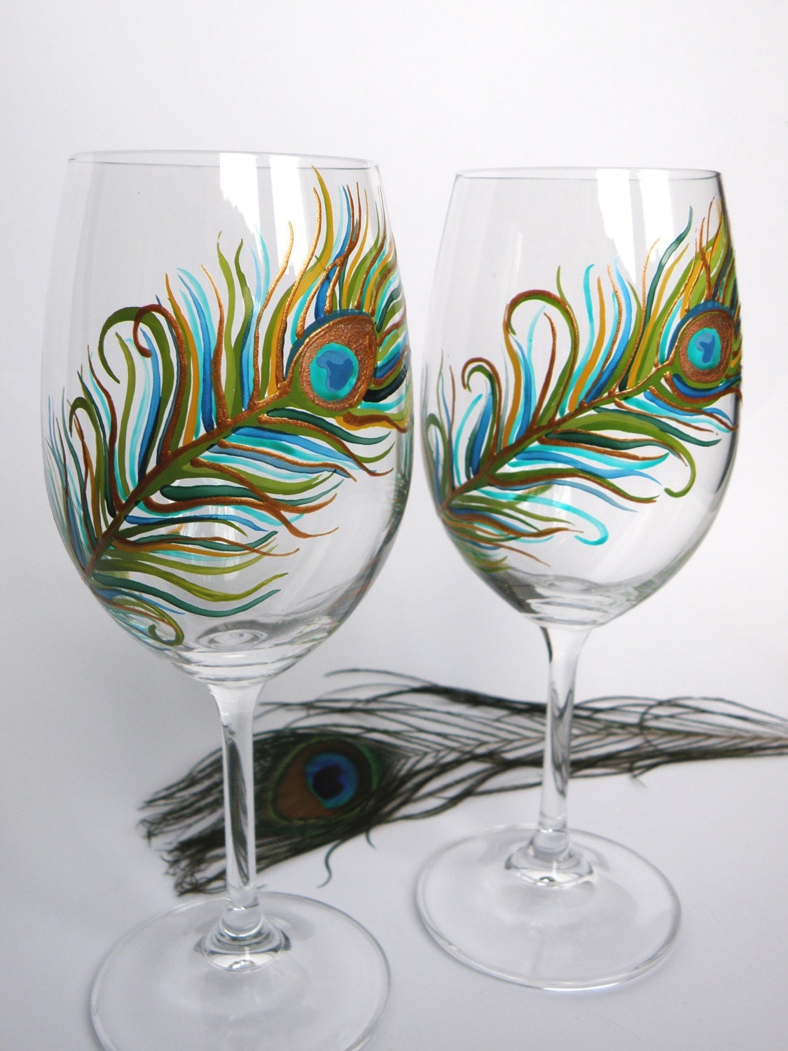 Hand Painted Wedding Toasting Wine Glasses Set Of 2 By Pastinshs