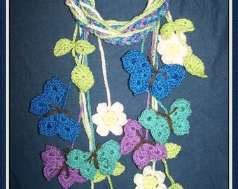 Spring Scarf Butterfly Kisses Crochet Pattern PDF- INSTANT DOWNLOAD