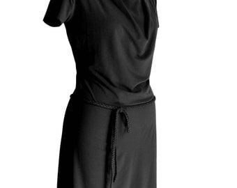 Plus Size Clothing, Summer Dress, Black dress, Short sleeve Dress, Cowl Neck Dress, Classic Dress, Plus Size Dress, Custom Plus Size Dress