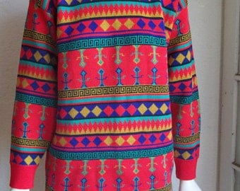 Vintage 80s GLAM GRUNGE Graphic Tribal Knit Sweater L