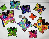 SALE! 4 Colorful Butterflies No Sew Iron On Appliques Cotton Patches Butterfly