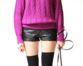 vintage 1970s sweater / 70s knit sweater / Alexa Purple Knit Sweater