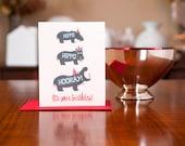 Hippo Hippo Hooray Birthday Card on 100% Recycled Paper