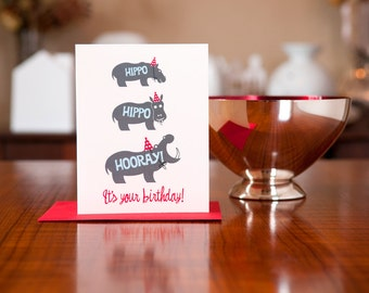 Hippo Hippo Hooray Birthday Card on 100% Recycled Paper