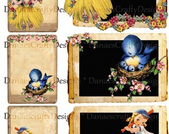 Retro Tag Collage Sheet - Chalkboard and Kraft Backgrounds - Digital Printable-CS R10 -Bonus Sheet My Treat