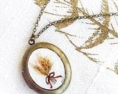 Bundle of Wheat locket, art jewelry, brass necklace, heirloom locket jewellery, LIMITED EDITION