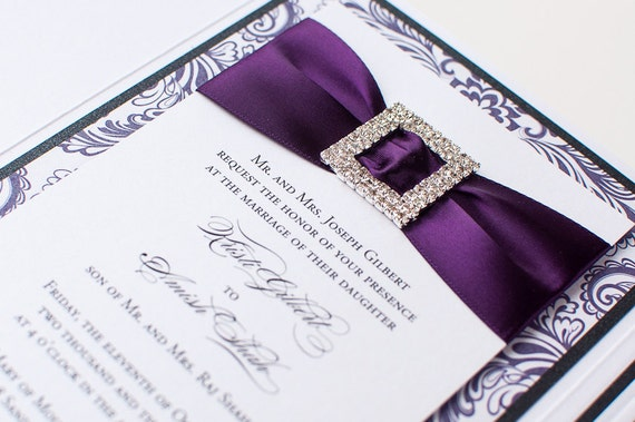 Bling Wedding Invitations: Bling & Satin Wedding Invitation In Luxe Purple By