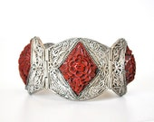 Beautiful 1920s Cinnabar Silver Filigree Bracelet