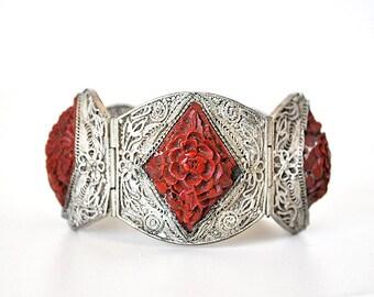 Beautiful 1920s Cinnabar Silver Filigree Bracelet