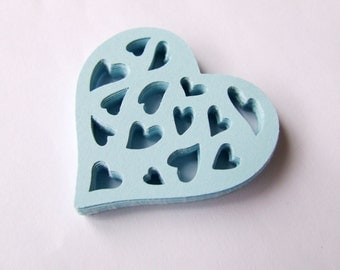 Blue Paper Hearts - Wedding table decorations - die cut hearts - light blue paper heart decorations - scrapbooking