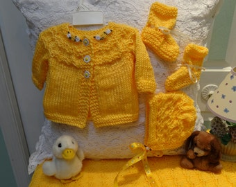 BABY, LAYETTE SET, Bright yellow, sweater, hat , booties and blanket, hand knitted  for a 3 to 6 month baby