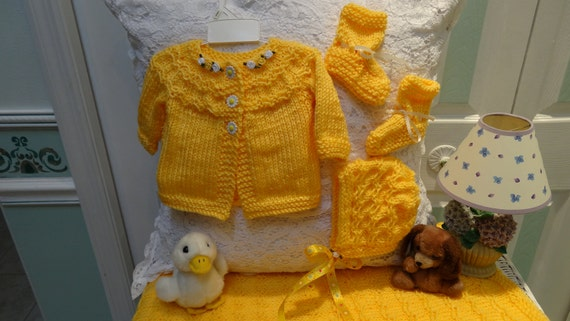 HAND KNITTED LAYETTE : Baby Set, Bright yellow, sweater, hat , booties and blanket, for a 3 to 6 month baby