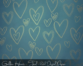 Golden Valentine Hearts - Digital and Printable Single Paper