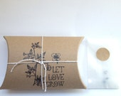 """Unique Gift for the Gardner. """"Love in a Puff"""" Heart Seeds. Gift with Custom Message. Ready to Ship."""