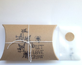 "Valentines Day Gift for the Gardner. ""Love in a Puff"" Heart Seeds. Gift with Custom Message. Ready to Ship."
