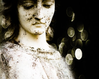 Cemetery Photography, Religious Art, Angel Face, Bokeh Art, Black and White, Condolence Gift, 8 x 12, Fine Art Photography, Modern Wall Art
