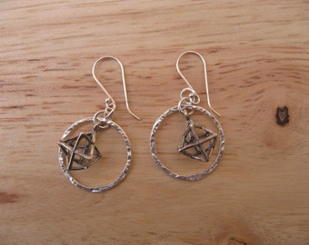 STerling Silver Merkaba Star Earrings, Merkaba Earrings, 3D Star of David Earrings,  Silver Circles, Simple Silver Earrings, Merkaba Charm,
