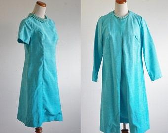 Vintage Dress & Jacket Set -- Embellished Beaded Collar -- Medium AS IS