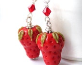 Red Strawberry Dangle Earrings - Red Lampwork Glass Beads Earrings, Bridesmaid Gift, Long Dangles, Bridal Jewelry, OOAK - 'Strawberries'