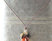 The Black and Tan Necklace - Agate, Silver, Cotton
