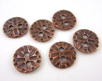 20 Antique Copper Tierracast Radiant Buttons