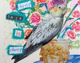 Bird Floral Still Life Original Collage Watercolor, Painting, Collage, Ready to Frame, 5 x 7