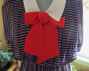 80s BILLY JACK--Hello, Sailor--Sailor Girl Dress--Sheer Stripes--Big Red Bow--Navy and White