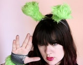 Lime Green Fur and Silver Sparkly Fingerless GLOVES - Burlesque - Cosplay - Kawaii - Burning Man - Halloween