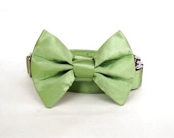 Satin Wedding Bow Tie Dog Collar - Lime