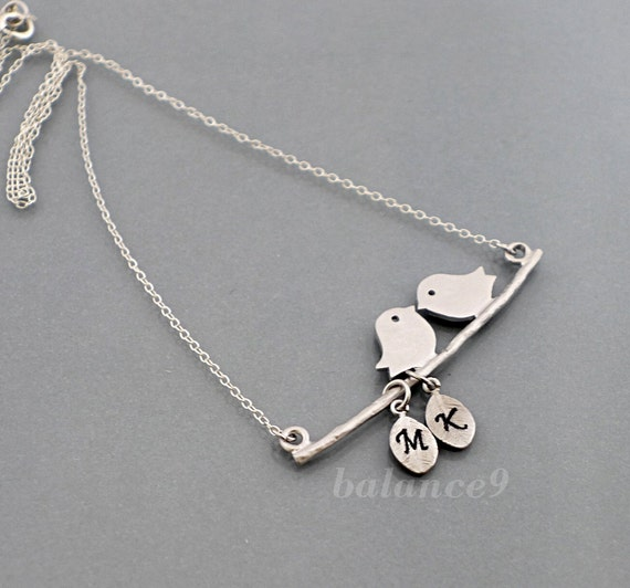 Love birds on branch Initial Necklace, Custom stamped Personalized silver leaf, sterling chain, bridesmaid wedding, family, by balance9