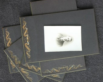 Frame your pictures like before. Antique black cardboard back for cabinet card photos.