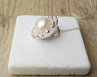 Bridal Statement Necklace, Single Pearl Pendant Necklace, Pearl Jewelry, Wedding Pearl Gift, Pearl Wedding, Pearl Anniversary, Real Pearl