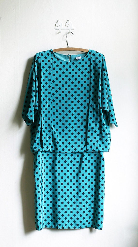 SALE - Teal Green and Black 80ies Polka dot Batwing oversized Summer dress