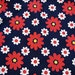 """1960s Vintage Fabric Cotton Mod Daisies Red White on Navy Blue 36"""" wide"""