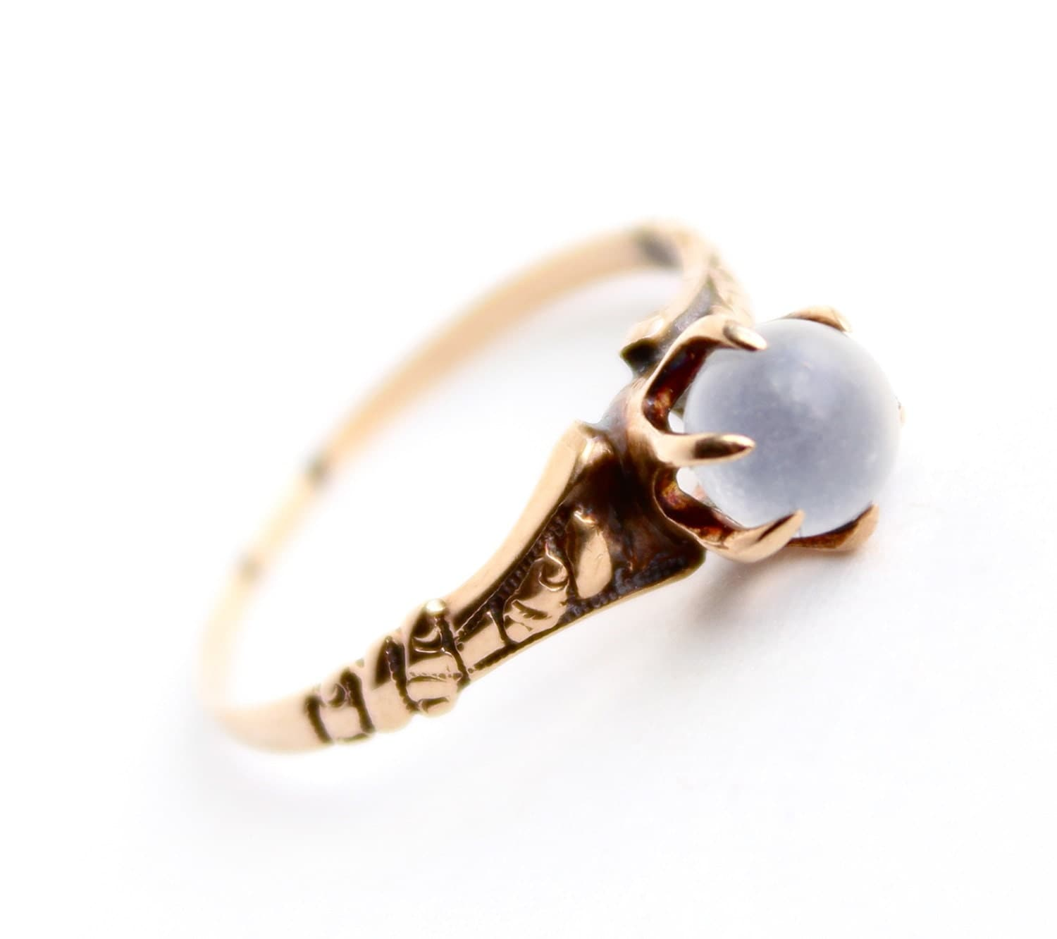 Antique Victorian 10k Rose Gold Moonstone Ring Size 6 1 2