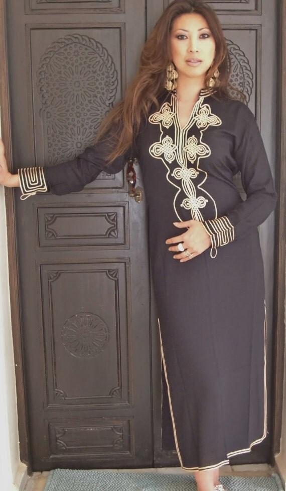 Spring Finds Trendy Clothing Black Moroccan Caftan Kaftan- Aisha-Gift, loungewear,resortwear,resort, Birthdays, Honeymoon, Maternity Gifts