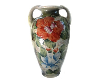Antique Art Pottery Urn Vase Hand Painted Floral Motif Moriage