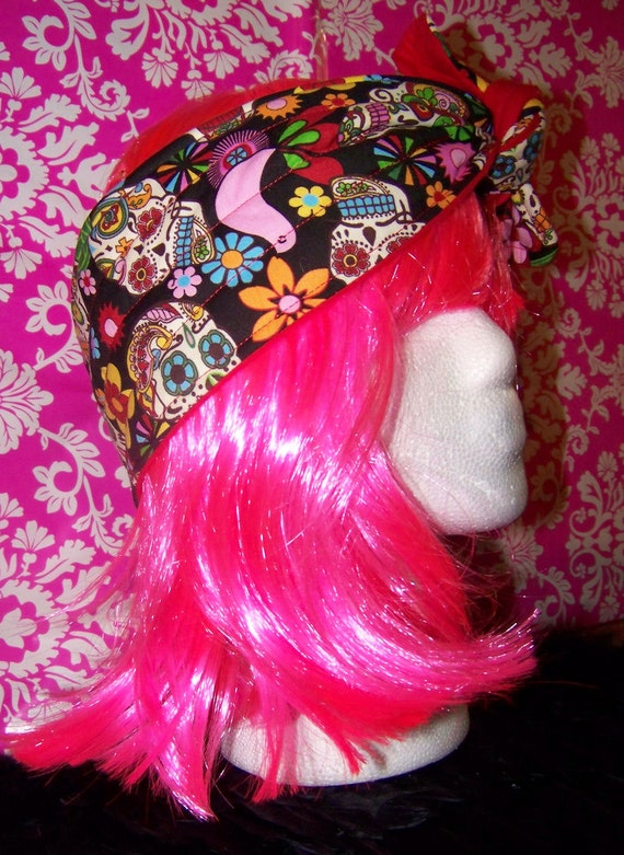 Sugar Skull - Day of the Dead - Red - Headband - Tie back - Thick - 3 3/4 inches Wide - Rosie the Riveter