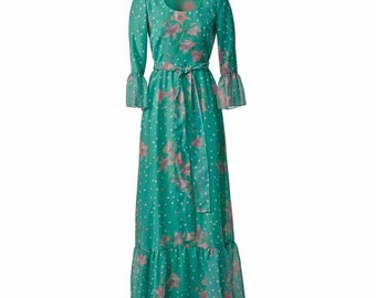 Vintage Green and Pink Maxi Dress